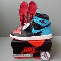 SEPATU NIKE AIR JORDAN 1 RETRO HIGH UNC CHICHAGO BLACK RED BLUE 100%PK