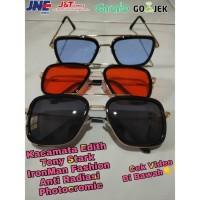 Kacamata Edith Tony Stark IronMan Fashion Anti Radiasi Photocromic - Hitam