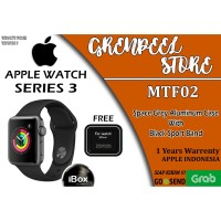 Apple Watch Series 3 38mm MTF02 MTEY2 Black Sport Band Garansi Resmi