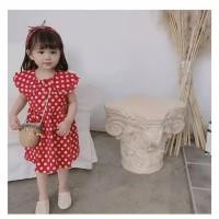 baju anak perempuan model dress merah polkadot