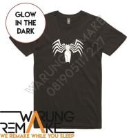 Kaos Unik Baju Combed 30s Distro Glow In The Dark Venom Spider