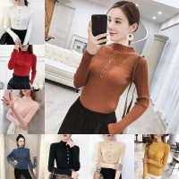 Borong Sweater Rajut Wanita dengan Model Crop Top dan Potongan Ketat