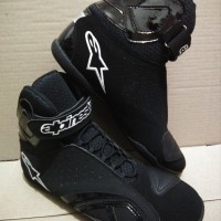 sepatu drag/touring alpinestar hitam list putih