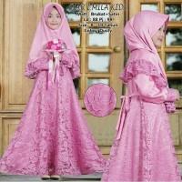 Baju Muslim Gamis Brukat Anak Usia 6-10 Tahun