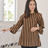 blus batik lurik coklat klasik/batik pekalongan/atasan wanita k56