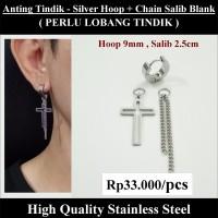 Anting Tindik Cowok Pria - Silver Hoop + Chain Salib Blank