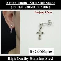 Anting Tindik Cowok Pria - Stud Salib Shape