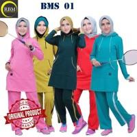 BMS 01 Baju Kaos Olah Raga Wanita Muslim Muslimah Bahan Katun Ori