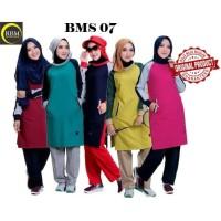 BMS 07 Baju Kaos Olah Raga Wanita Muslim Muslimah Bahan Katun Ori