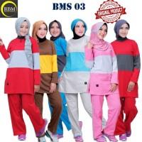 BMS 03 Baju Kaos Olah Raga Wanita Muslim Muslimah Bahan Katun Ori