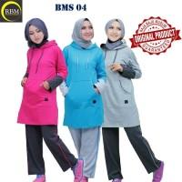 BMS 04 Baju Kaos Olah Raga Wanita Muslim Muslimah Bahan Katun Ori