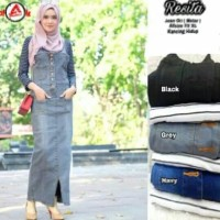 Resita Rok Jumpsuit Wanita - Overall Jeans Melar - No Inner