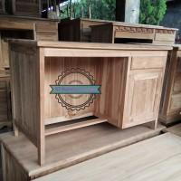 Meja kerja kayu jati - Meja laci untuk kantor model simpel mentahan