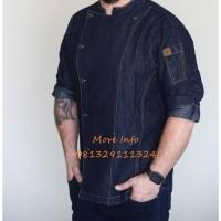 Pembuatan seragam Baju Koki-Chef-Jaket-Kemeja-Koki-Kitchen-Denim-Pria