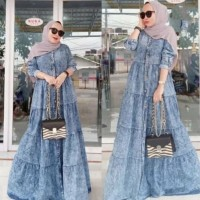 Baju Gamis Wanita Terbaru / Oriza Jeans Maxy Dress / Fashion Muslim