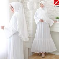 Baju Syari Wanita / Gamis Putih / Muslim Wanita #8090 STD