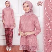 Baju Kebaya Brukat Modern Set Noni Dusty pink Terbaru