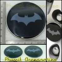 Emblem sticker bulat 3D 6.5 cm Batman grey untuk mobil motor laptop hp