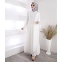 Baju Gamis Putih Brukat / Baju Busana Muslim Wanita #820