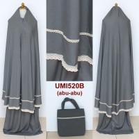 Mukena Dewasa Rayon Renda Semi Jumbo / Umi 520b - Abu-abu