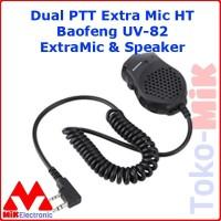Extra Mic HT Dual PTT ExtraMic utk Baofeng Weirwei Kenwood Firstcom