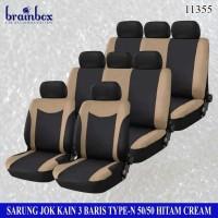 Sarung Jok Kain 3 Baris 50-50 Model-N Hitam Cream Seat Cover Avanza