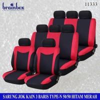 Sarung Jok Kain 3 Baris 50-50 Model-N Hitam Merah Seat Cover Avanza