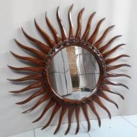 Figura Cermin Ukir Matahari Kayu Jati