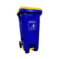 krisbow tempat sampah plastik outdoor pedal dengan tutup 240 ltr - bir
