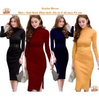 Bintang Rajut Indo || Aynita Dress Rajutan Plus belt Bodycon Dress Kni