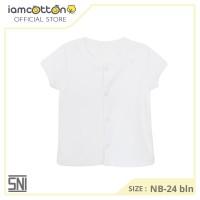 I am Cotton Baju Bayi Pendek Kancing Depan Pale White