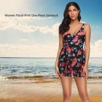 Baju Renang One-Piece Swimsuit Wanita Floral Print V-Neck Pakaian Rena