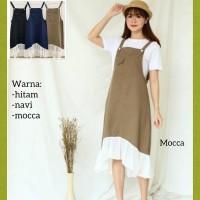 baju overall muslim wanita outer jumpsuit maxi terbaru jamsuit mocca
