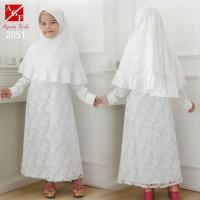 AGNES Gamis Putih Anak Perempuan Baju Muslim Syari Anak Lebaran 2051