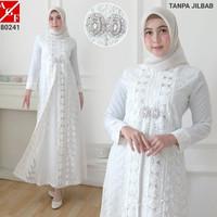Baju Syari Wanita / Gamis Putih / Muslim Wanita #80241 N STD