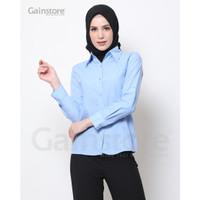 Kemeja Polos Wanita Baju Kantor Lengan Panjang Atasan Casual - Blue - Putih, M