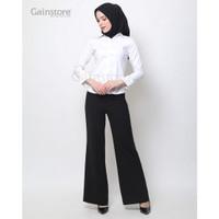Kemeja Polos Wanita Baju Kantor Lengan Panjang Atasan Casual - WHITE - Putih, M