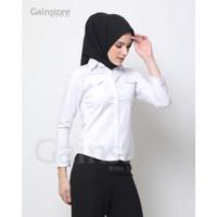 Kemeja Putih Polos Wanita Baju Formal Cewek Baju Kantor Katun Saku - Putih, L