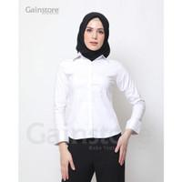 Kemeja Putih Polos Wanita Baju Kantor Formal Kerja Katun Strec