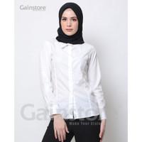 Kemeja Polos Wanita Baju Kantor Lengan Panjang Atasan Casual - WHITE