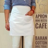 Celemek cafe / Apron Resto - Putih - Murah Best Quality - Hitam