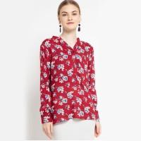 KORZ Split Neck Roll Sleeve Floral Blouse - Maroon