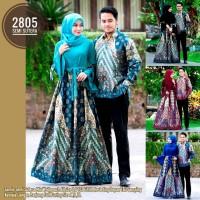 couple semi sutera gamis hem panjang batik kode 2805 prasasti