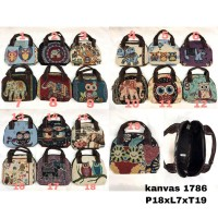 pouch mini hand bag etnik thailand import gajah owl murah kanvas 1786