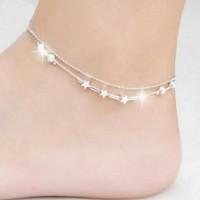 Gelang Kaki Rantai Lapis Silver Desain Bintang kecil Silver Anklet