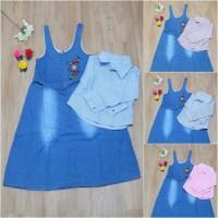 Dress Jeans Overall anak Set kemeja