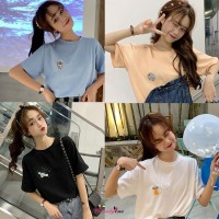 Cantik Kaos T-Shirt Gaya Korea Motif Print Kartun Luar Angkasa