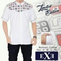 Kemeja / Baju Koko Muslim Pria eXe - Putih Kombinasi Batik Premium Ed