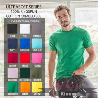 Kaos Polos Y&S UltraSoft Cotton Combed 30s - Slimfit Reactive - M, Red