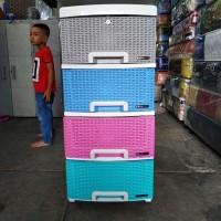 lemari plastik laci napolly 4 susun rotan fuul collor warna terbaru